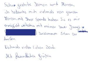 Kinder-Dankeskarte – Der Vater wurde durch Kostenübernahme vor der Inhaftierung bewahrt.